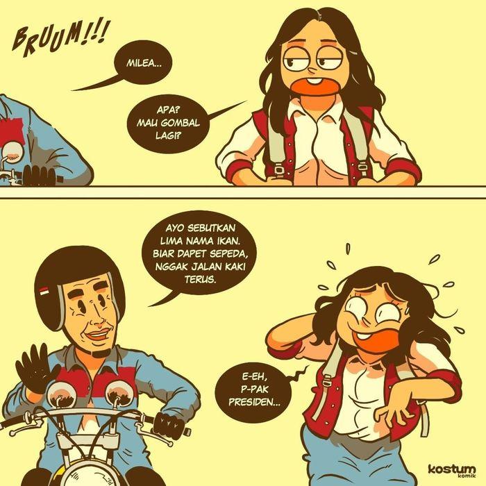 Ketika Jokowi gantikan Dilan untuk merayu Milea. (Foto: Instagram/ @kostumkomik)