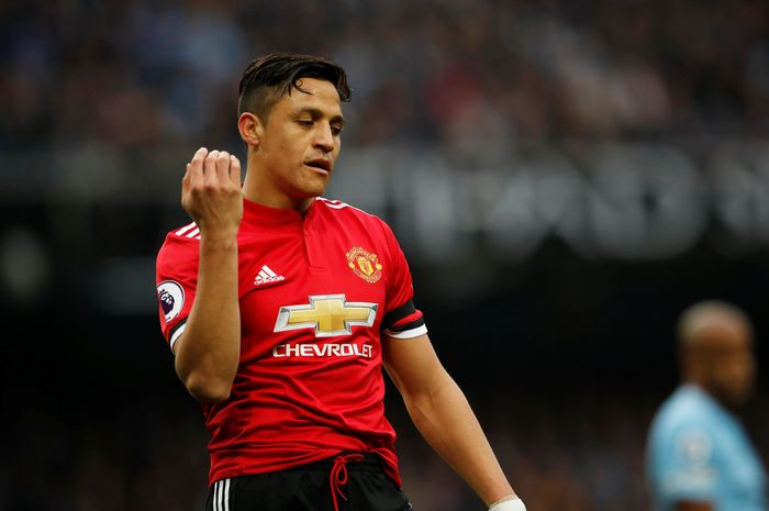 Soccer Football - Premier League - Manchester City vs Manchester United - Etihad Stadium, Manchester, Britain - April 7, 2018   Manchester Uniteds Alexis Sanchez reacts             Action Images via Reuters/Lee Smith    EDITORIAL USE ONLY. No use with unauthorized audio, video, data, fixture lists, club/league logos or