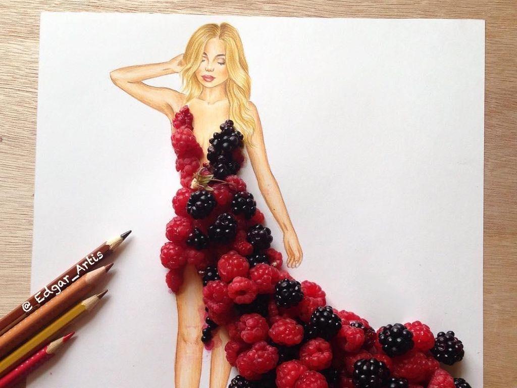 Unik! 10 Sketsa Gaun Ini Dihias Pakai Bahan Makanan