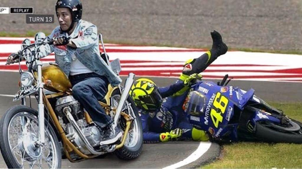Meme Lucu Jokowi dengan Motor Chopper di Arena MotoGP