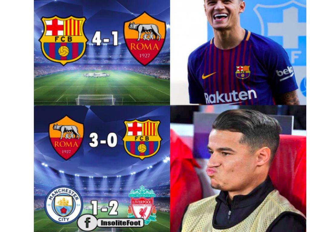 Barca Tersingkir dan Liverpool Lolos, Coutinho pun Diolok-olok