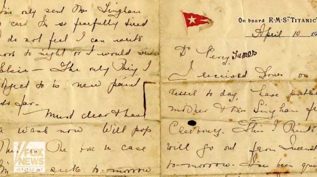 Surat Langka yang Ditulis di Atas Kapal Titanic Dilelang