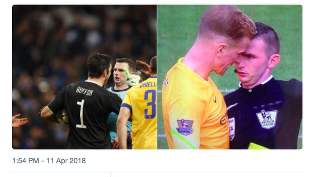 Kasih Penalti dan Usir Buffon, Wasit Jadi Bulan-bulanan Meme