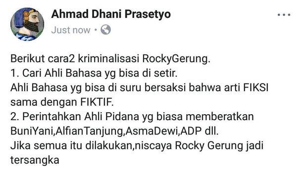 Komentar Ahmad Dhani soal 'kitab suci itu fiksi' Rocky Gerung