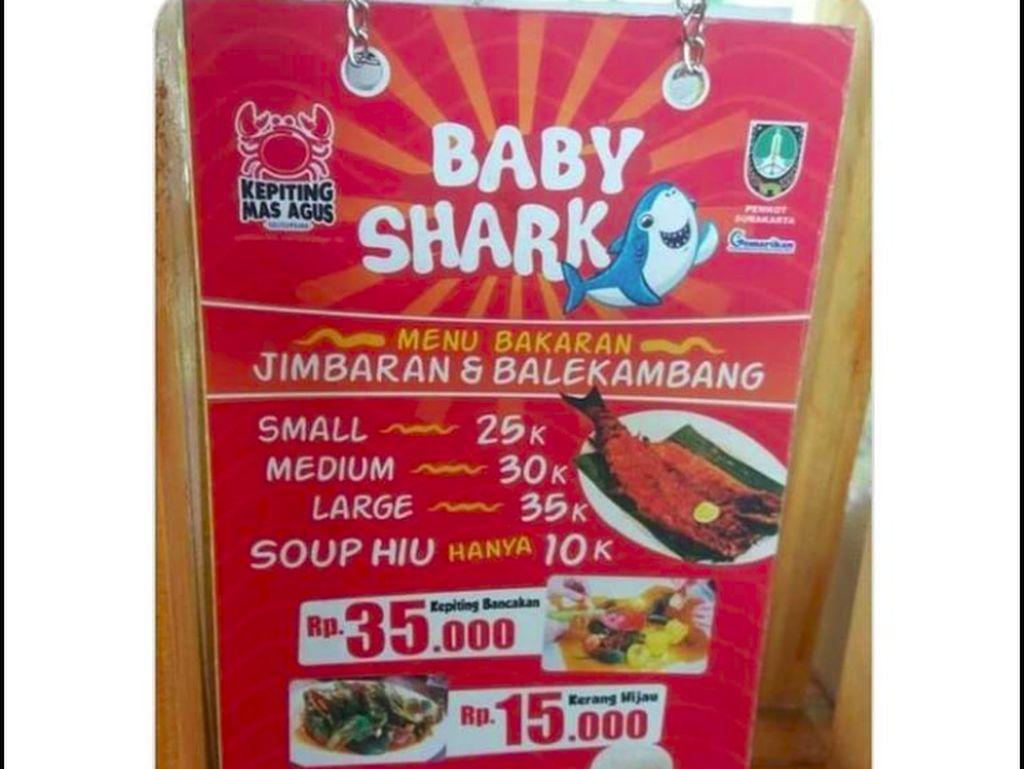Jual Menu Sup Baby Shark, Restoran di Solo Ramai Dikecam