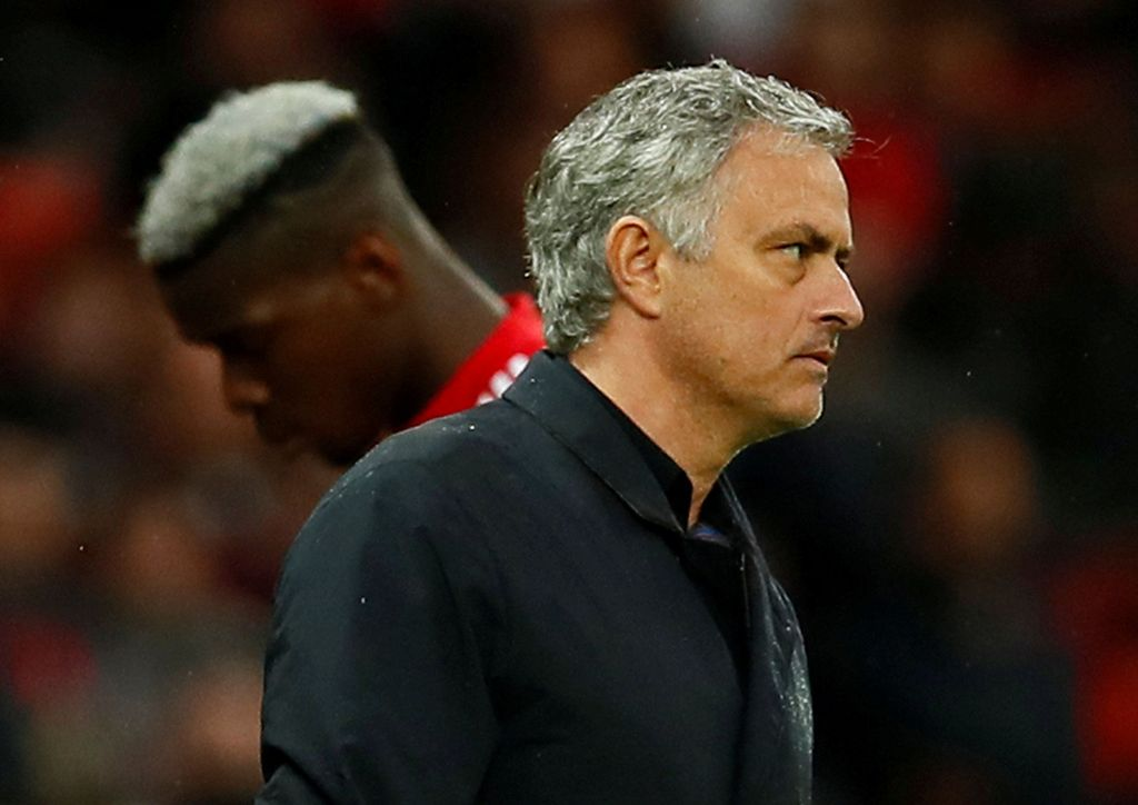 Soccer Football - Premier League - Manchester United vs West Bromwich Albion - Old Trafford, Manchester, Britain - April 15, 2018   Manchester United manager Jose Mourinho as Paul Pogba is substituted       Action Images via Reuters/Jason Cairnduff    EDITORIAL USE ONLY. No use with unauthorized audio, video, data, fixture lists, club/league logos or