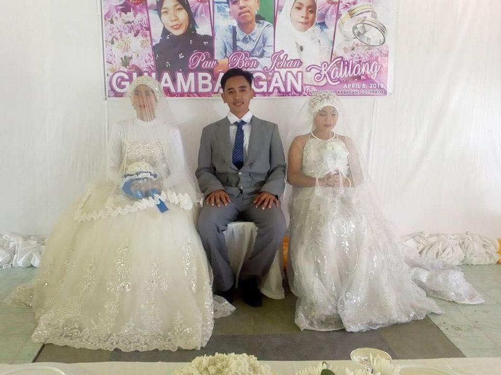Viral, Foto Pernikahan Pria Nikahi 2 Wanita Sekaligus Jadi Kontroversi