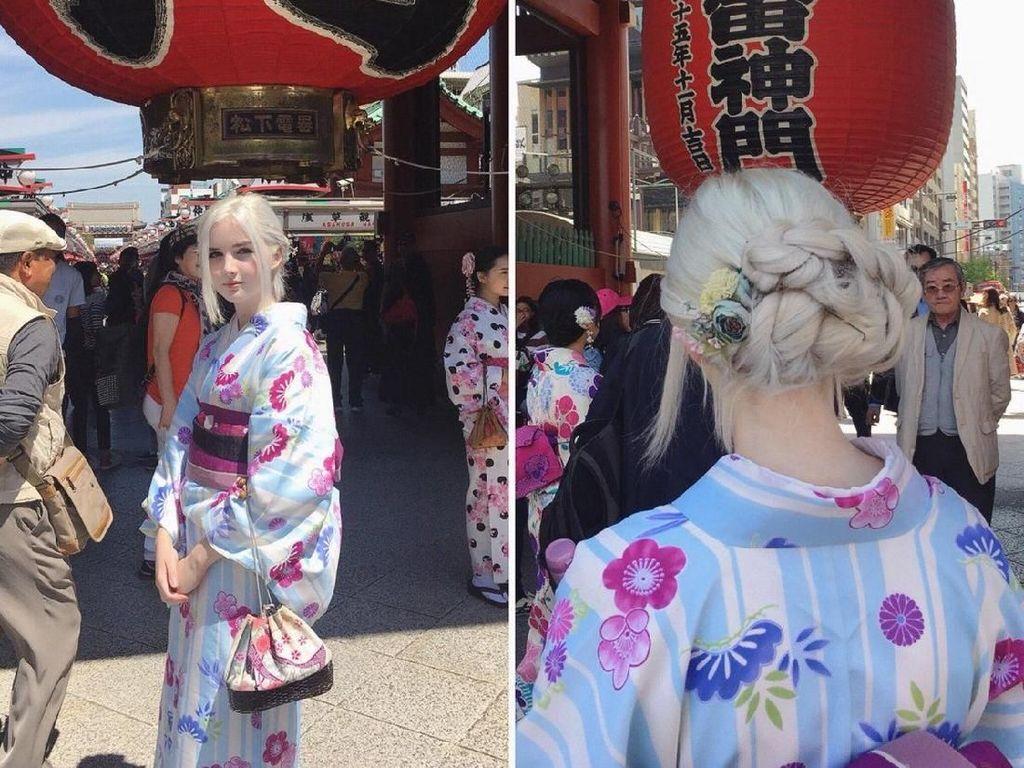 Foto: Pesona Gadis Rambut Silver yang Berwajah Bak Peri Cantik