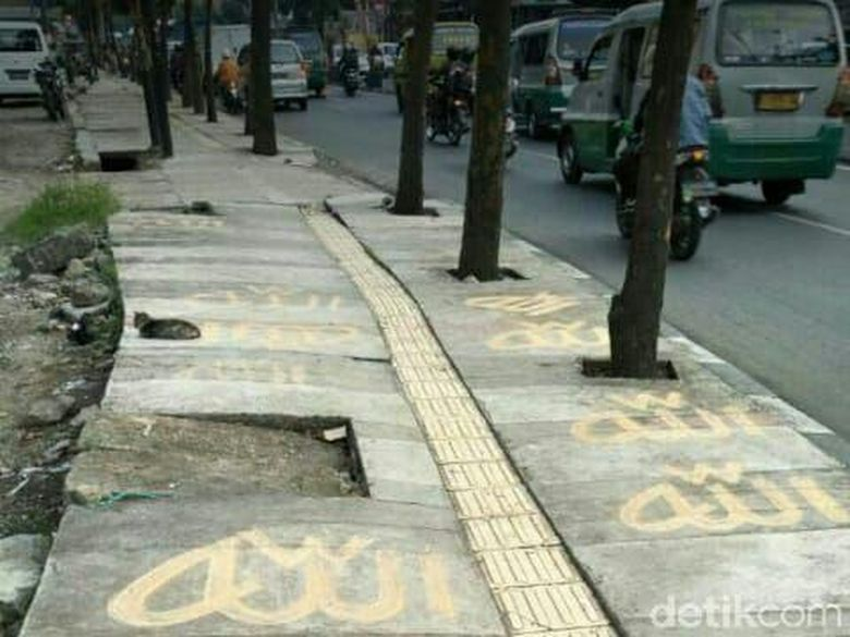 Tulisan Allah di Trotoar Bandung, Polisi Minta Warga Tenang