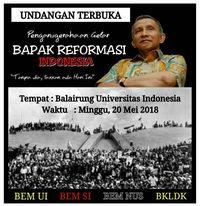 Gambar berisi undangan acara penganugerahan gelar 'Bapak Reformasi Indonesia' kepada mantan Ketua MPR Amien Rais
