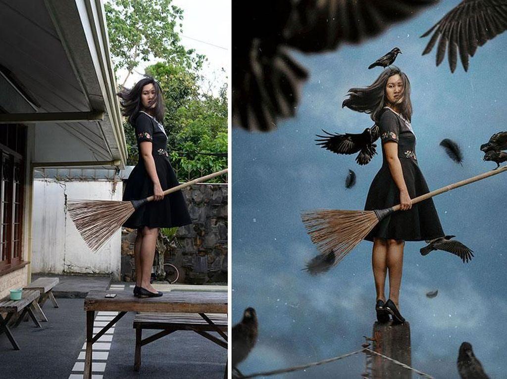 Jago Photoshop, Foto Wanita di Halaman Rumah Ini Jadi Keren Banget