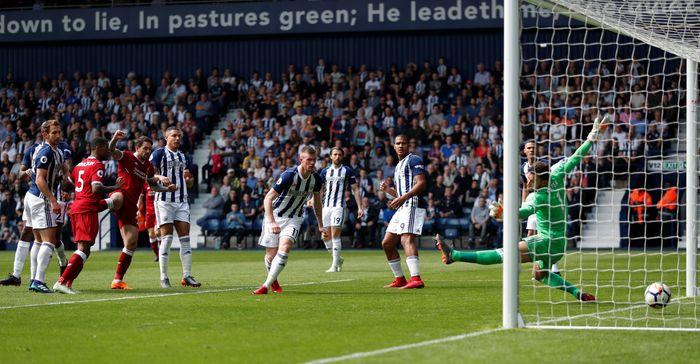 Liverpool sementara unggul 1-0 atas West Brom di babak I. (Foto: Andrew Boyers/Action Images via Reuters)
