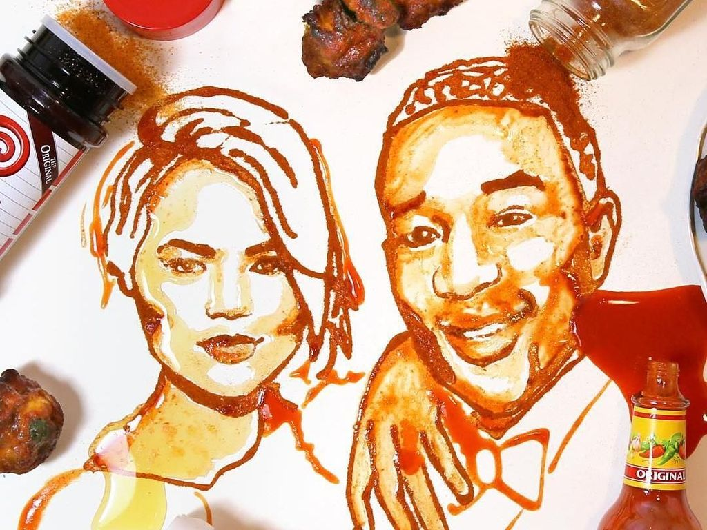 Keren! 10 Lukisan Potret Selebriti Ini Terbuat dari Bahan Makanan Unik
