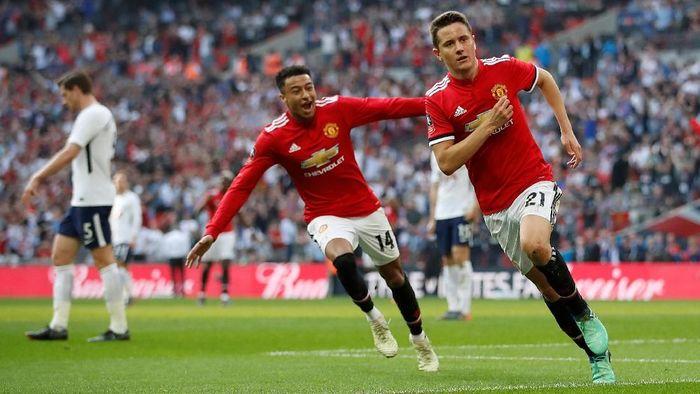 Ander Herrera saat merayakan gol Manchester United ke gawang Tottenham Hotspur. (Foto: Carl Recine/Action Images via Reuters)
