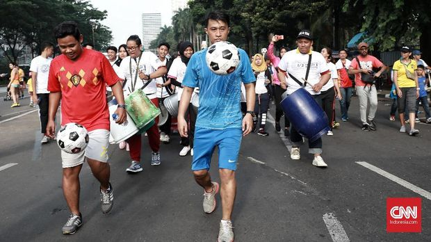 Ilustrasi acara giring bola sebelum dimulai Piala Dunia 2018. (