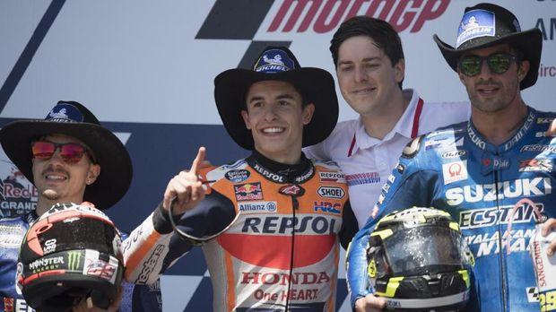 Tiga pebalap yang berhasil meraih podium MotoGP Amerika Serikat musim lalu.