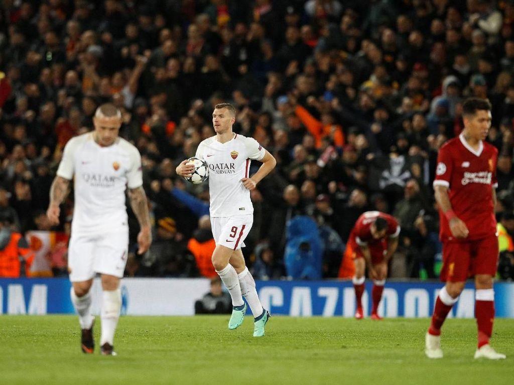 Dua Gol di Anfield Hidupkan Asa Roma