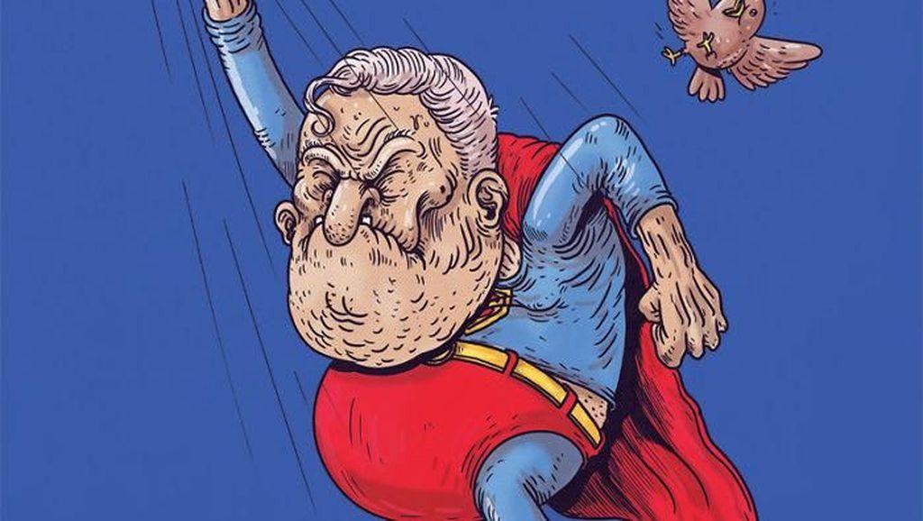 Ilustrasi Kocak Saat Superhero Menua