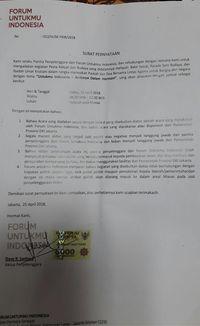 Surat Forum Untukmu Indonesia tentang acara bagi sembako di Monas /