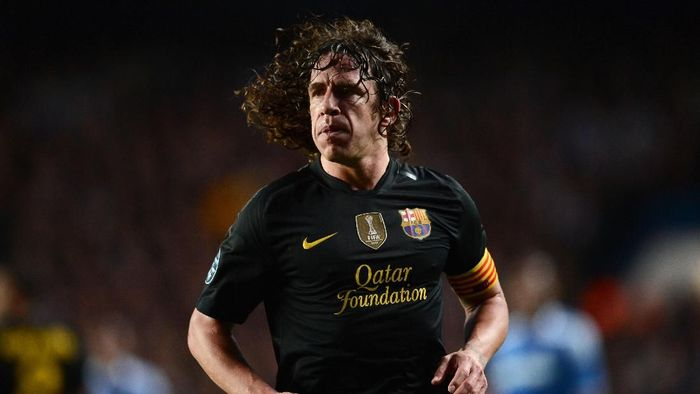 LONDON, ENGLAND - APRIL 18:  Carles Puyol of Barcelona looks on during the UEFA Champions League Semi Final first leg match between Chelsea and Barcelona at Stamford Bridge on April 18, 2012 in London, England.  (Photo by Jasper Juinen/Getty Images)