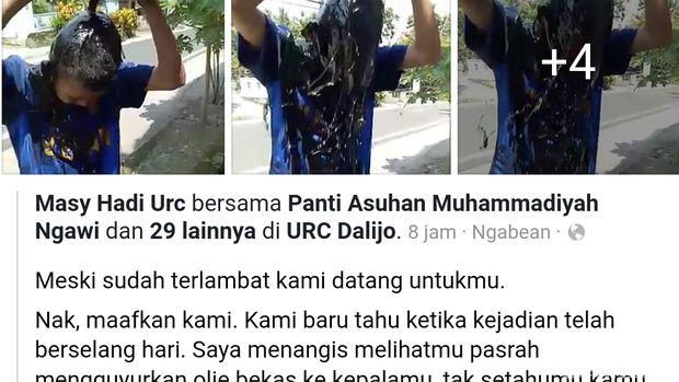 Viral Bocah Dihukum Siram Oli Bekas ke Kepala, Polisi Turun Tangan