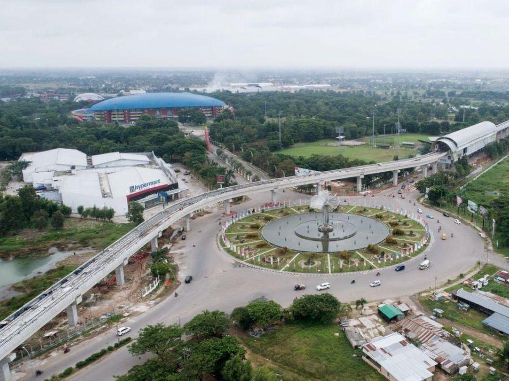Meliuk-liuk, LRT Palembang Megah Dilihat dari Udara