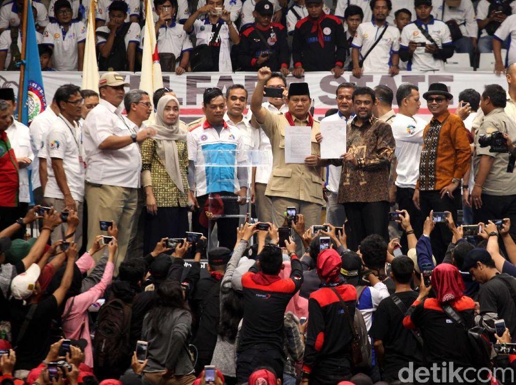 Ini Pidato Lengkap Prabowo Terima Dukungan Capres dari KSPI