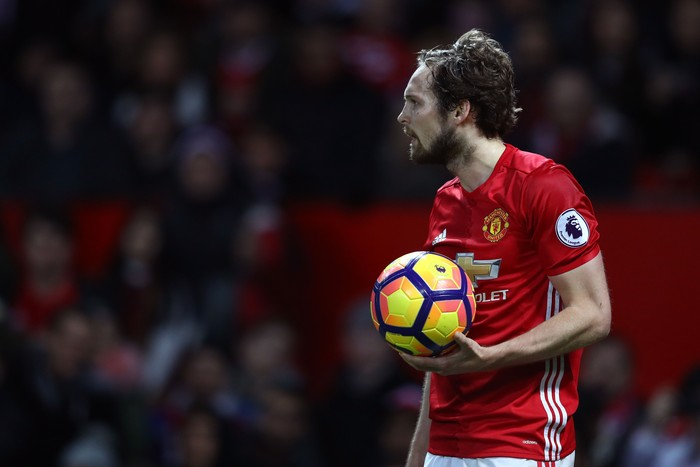 MANCHESTER, ENGLAND - FEBRUARY 01: Daley Blind of Manchester United looks on during the Premier League match between Manchester United and Hull City at Old Trafford on February 1, 2017 in Manchester, England.  (Photo by Clive Mason/Getty Images)