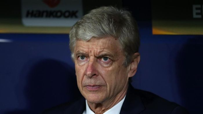 MADRID, SPAIN - MAY 03: Arsene Wenger manager / head coach of Arsenal during the UEFA Europa League Semi Final second leg match between Atletico Madrid  and Arsenal FC at Estadio Wanda Metropolitano on May 3, 2018 in Madrid, Spain. (Photo by Catherine Ivill/Getty Images)