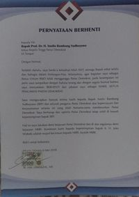 Surat pernyataan berhenti Darmizal