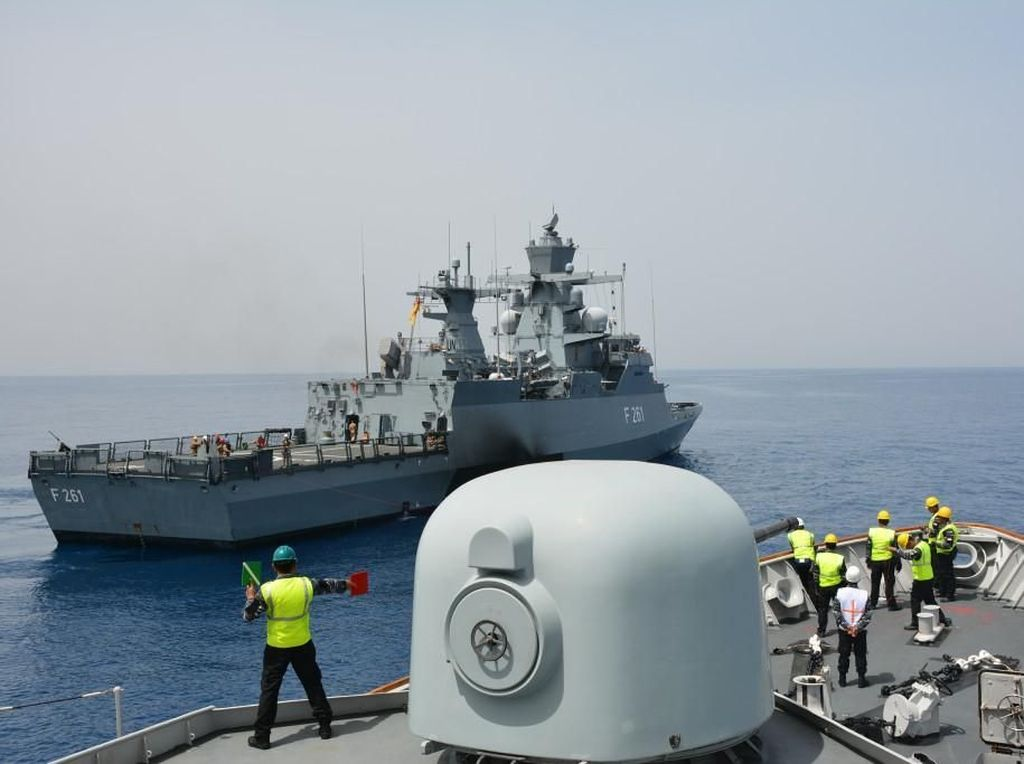 TNI AL Latihan Bareng Tentara Jerman di Laut Mediterania