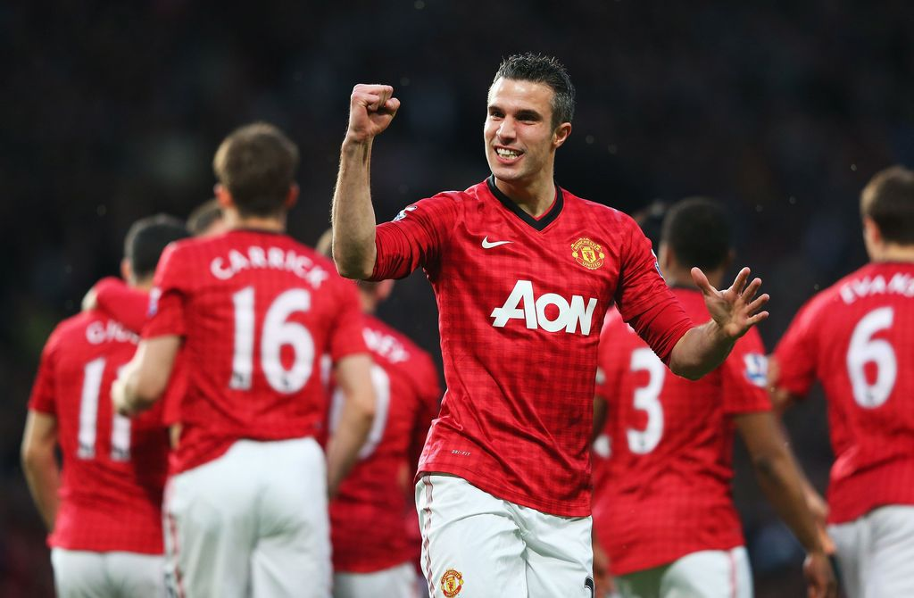 MANCHESTER, ENGLAND - APRIL 22:  Robin van Persie of Manchester United celebrates scoring the opening goal during the Barclays Premier League match between Manchester United and Aston Villa at Old Trafford on April 22, 2013 in Manchester, England.  (Photo by Alex Livesey/Getty Images)