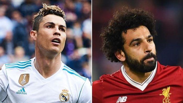 Ronaldo dan Salah di susunan pemain Real Madrid vs Liverpool. (Foto: Diolah dari Getty Images)