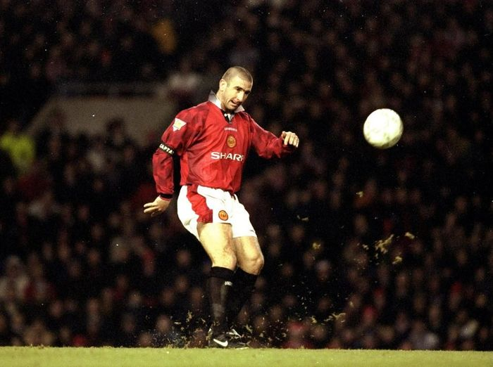 21 Dec 1996:  Eric Cantona of Manchester United in action during an FA Carling Premiership match against Sunderland at Old Trafford in Manchester, England. Manchester United won the match 5-0.  Mandatory Credit: Mark  Thompson/Allsport