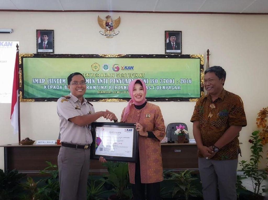 Antisuap, Balai Karantina Pertanian Denpasar Dapat ISO SMAP