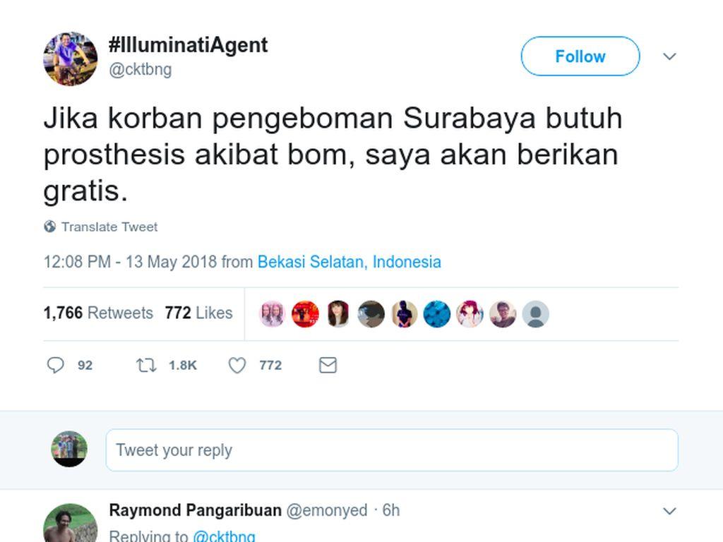 Warganet Ini Tawarkan Prostesis Gratis untuk Korban Bom Surabaya
