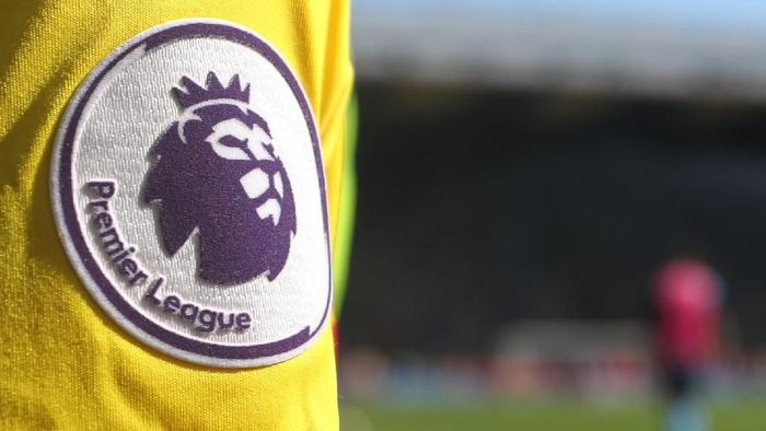 WATFORD, ENGLAND - MAY 05: Detail of the Premier League logo on the shirt of a fan during the Premier League match between Watford and Newcastle United at Vicarage Road on May 5, 2018 in Watford, England. (Photo by Catherine Ivill/Getty Images)