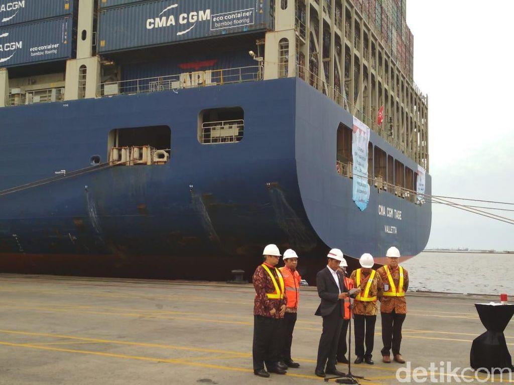 Jokowi Lepas Ekspor Produk Manufaktur Pakai Kapal Raksasa ke AS