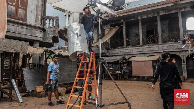 Set lokasi serial HBO, 'Grisse' di Batam, 14 Mei 2018. (CNN Indonesia/Endro Priherdityo)