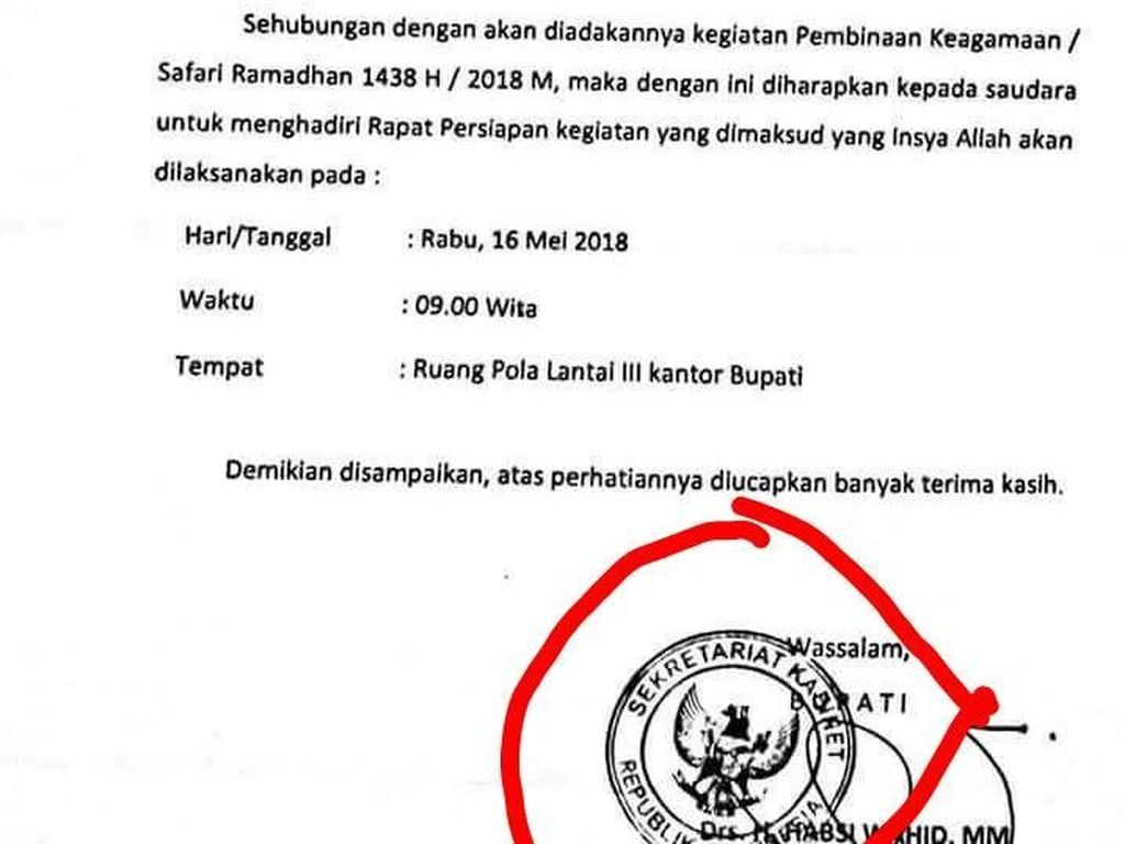 Undangan Rapat Pakai Stempel Setkab, PNS di Mamuju Dinonjobkan