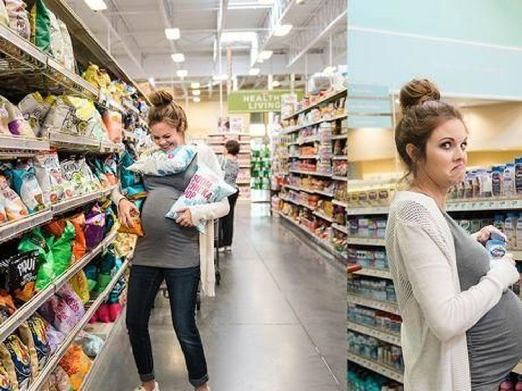 Boleh Ditiru, Wanita Ini Lakukan Foto Kehamilan di Supermarket!