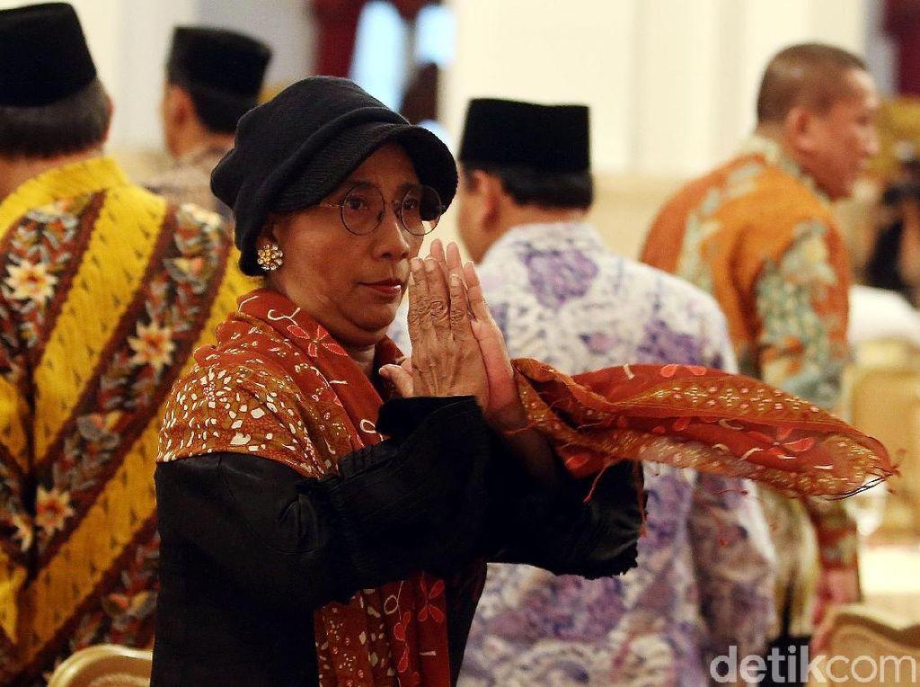 Begini Gaya Menteri Susi Buka Puasa di Istana