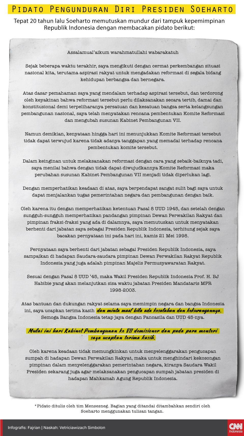 Tepat 20 tahun lalu Soeharto memutuskan mundur dari tampuk kepemimpinan Republik Indonesia dengan membacakan pidato berikut:
