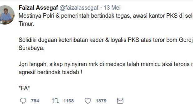 Cuitan Faizal Assegaf soal keterlibatan PKS dengan aksi terorisme di 3 gereja Surabaya.