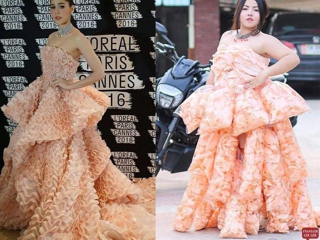 Bikin Ngakak! Wanita Ini Tiru Gaun Selebriti dengan Durian hingga Kerupuk Udang