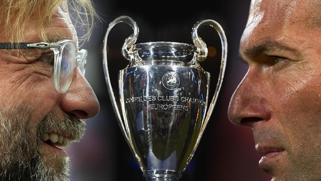 Zinedine Zidane vs Juergen Klopp di final Liga Champions 2018 antara Real Madrid dengan Liverpool ( Getty Images)