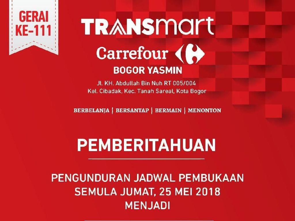 Pembukaan Transmart Carrefour Yasmin Bogor Ditunda