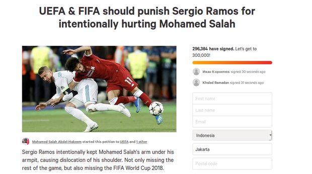 Ratusan Ribu Orang Desak UEFA dan FIFA Hukum Sergio Ramos
