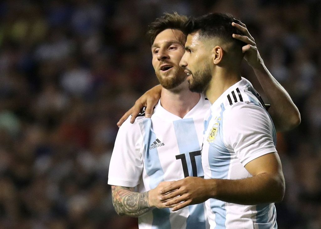 Soccer Football - International Friendly - Argentina vs Haiti - La Bombonera, Buenos Aires, Argentina - May 29, 2018   Argentina's Sergio Aguero celebrates scoring their fourth goal with Lionel Messi   REUTERS/Marcos Brindicci