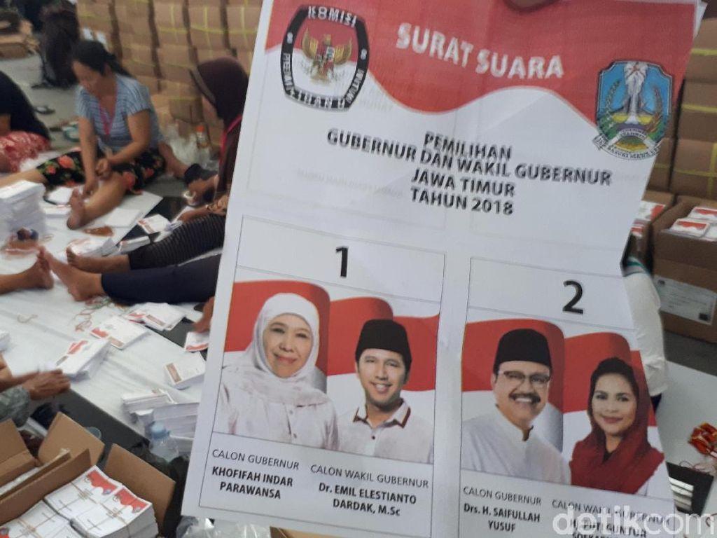 Surat Suara Pilgub Jatim 2018 untuk Kota Surabaya Siap Dibagikan